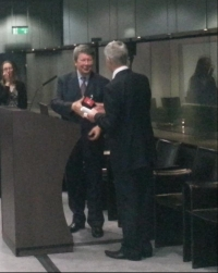 BAC Vice President Edwin Green presents the award to publisher Alistair Hodge