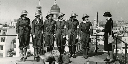 Women fire wardens practising on the roof of the Bank of England c.1942 - Courtesy of Bank of England Archive