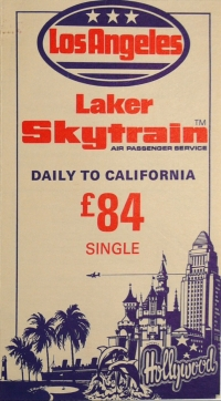 Skytrain Leaflet from London to LA, 1979. Reproduced with permission of West Sussex Record Office.